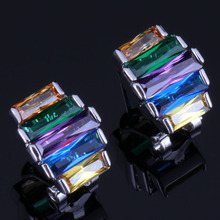 Amazing Multigem Multicolor Yellow Cubic Zirconia 925 Sterling Silver Clip Hoop Huggie Earrings For Women V0932