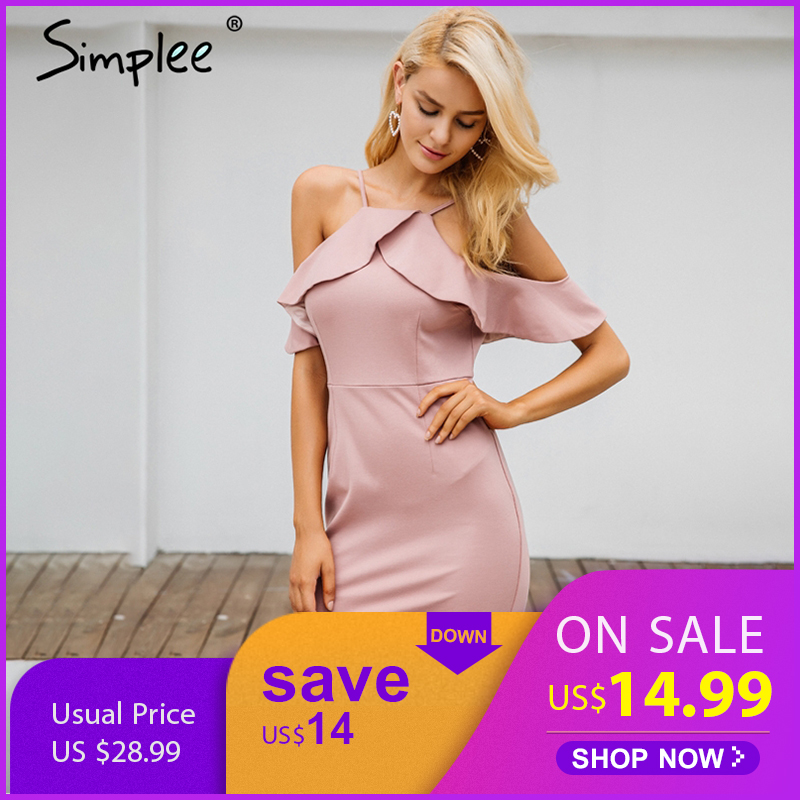 Buy Simplee Ruffle cold shoulder party dresses women Sexy backless halter bodycon dress 2018 Spring elegant mini dresses vestidos