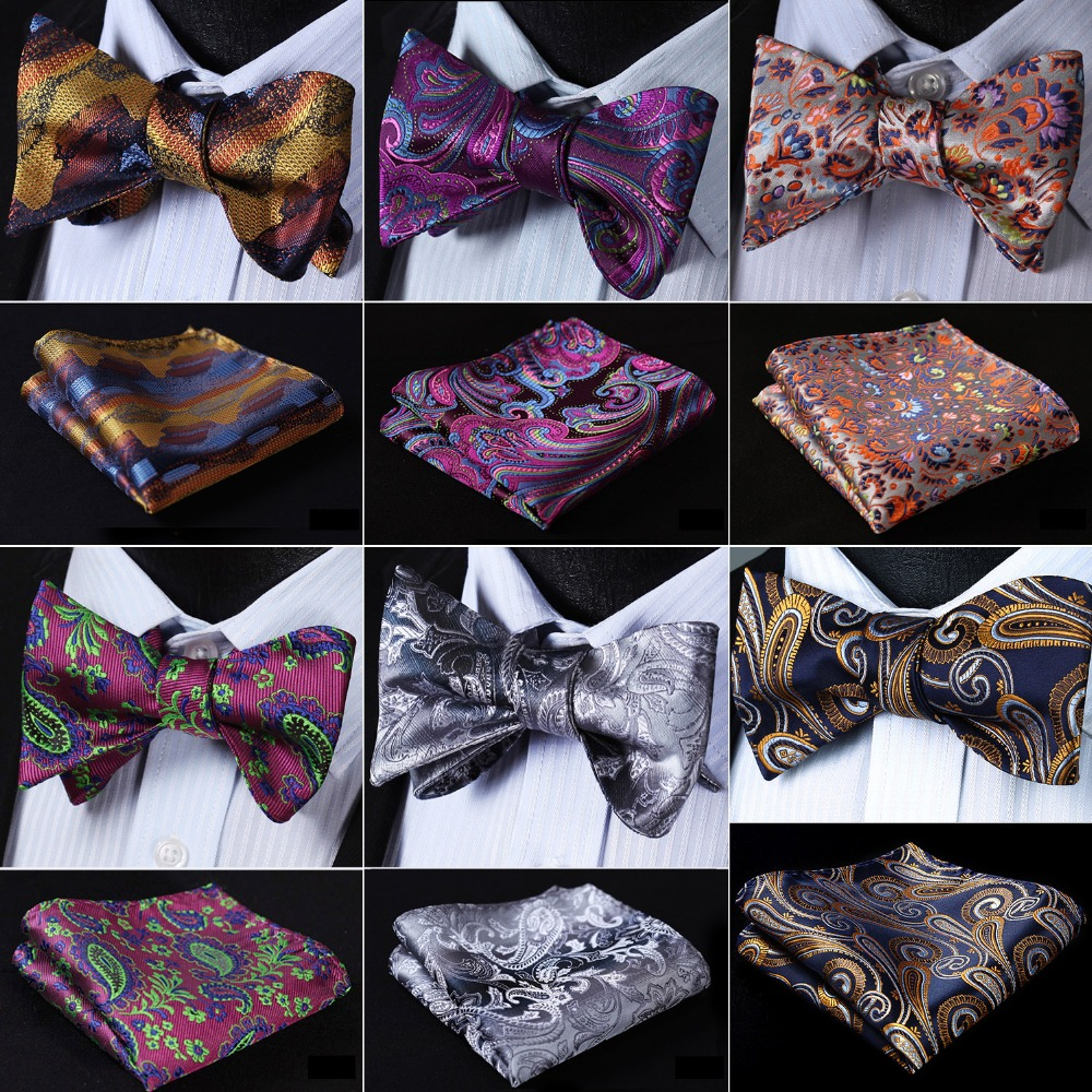 Paisley Floral Check Dot Men Woven Silk Wedding Self Bow Tie Handkerchief Set Pocket Square Classic Party Wedding #RF4
