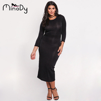 Minody Autumn Maxi Dress Women Plus Size Black Sexy Split Bodycon Tunic Long Sleeve Sheath Office
