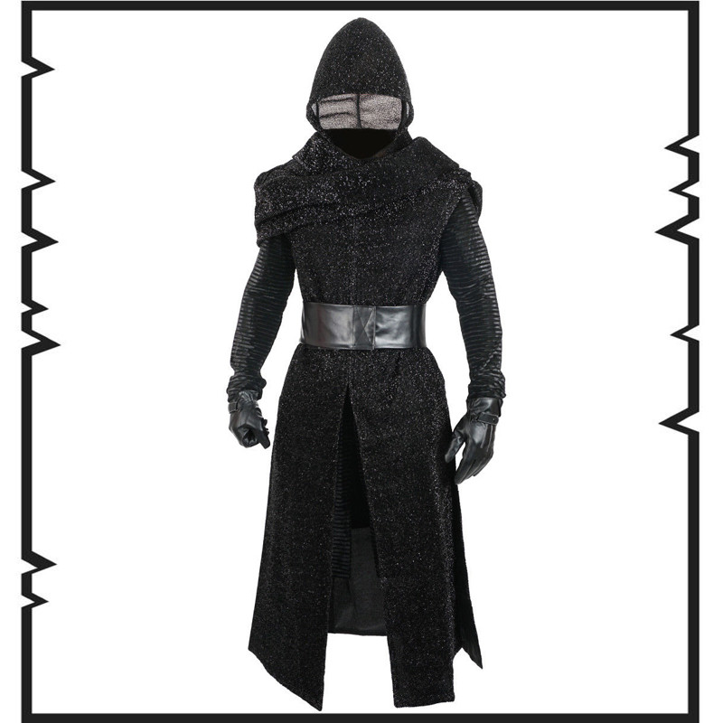 Star Wars 7 The Force Awakens full set Kylo Ren Cosplay Costumes mens Uniform Jedi Knight Suit Halloween Movie Costume euro size