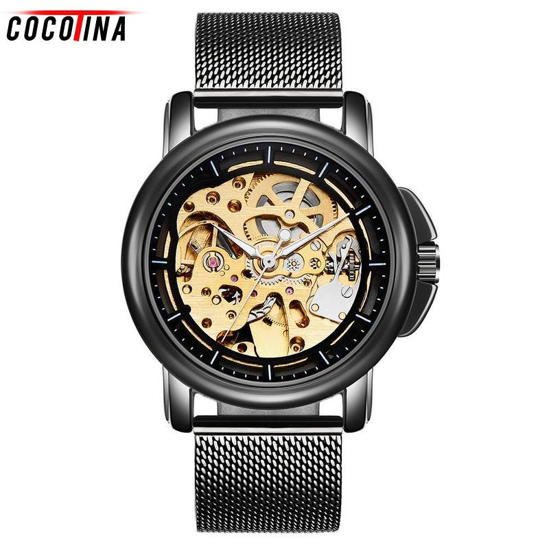 Cocotina Men's Fashion Hollow Watches Waterproof Mechanical Watches Men Luxury Automatic Mechanical Gift Relogio Masculino 2016 new gold watches winner luxury brand men s fashion automatic hollow out man mechanical watches waches relogio masculino
