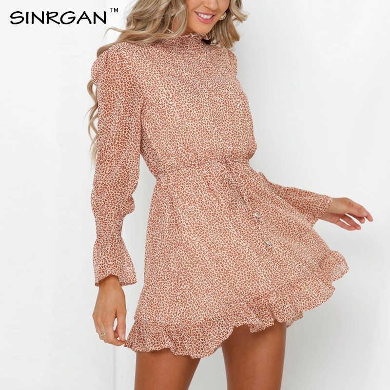 SINRGAN automne ceintures volants femmes robe printemps bohème col roulé Flare manches doux femmes plage robe robes
