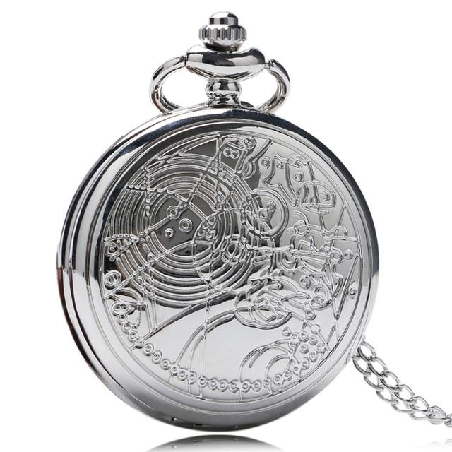 Hot Sale Doctor Who Pocket Watch Design Pocket Watch Luxury Sliver Fob Watch