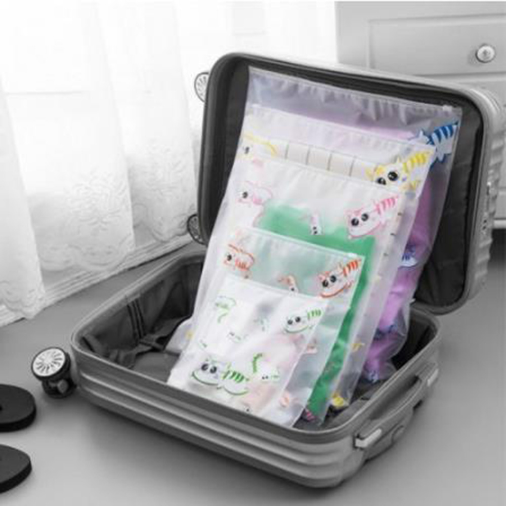 Cute Cat Design Travel Waterproof Clothes Transparent Storage Bag Small Coin Purse Travel Small Cloth Bag Travel Accessory