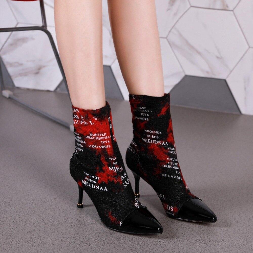 Bout Bottes Show Bota Dames Courte Chaussette Cheville Nouveau Sapato Couleur As Femmes as Pointu Sexy Mince Botas Show Talon Feminino Feminina Design Mélangée Chaussures vfqgwX