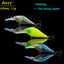 Jerry 6.5cm 11g floating bass cranking rattling bait fishing tackle gear middle diver wobbler