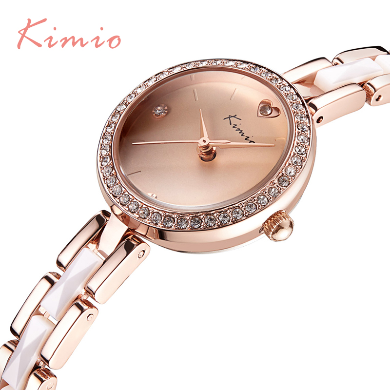 KIMIO Fashion Gold Quartz-watch For Women Crystal Diamond Bracelet Band Ladies Wrist Watches Elegant Casual montre femme 6146 mance branded ladies watches 2016 fashion women diamond bracelet watches wrap around leatheroid quartz wrist watch montre femme