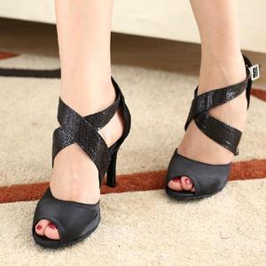 Image 3 - DILEECHI zapatos de baile latino para mujer, calzado con estampado de serpiente de satén negro, suela exterior blanda, zapatos de baile de salón, zapatos de Salsa de vals