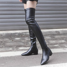 купить Thigh High Boots Women Black Genuine Leather Pointed Toe Over The Knee Booties Low Heel Winter Warm Long Shaft Platform Oxfords по цене 4718.1 рублей