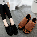 2017 New Women Shoes Flats Winter Rabbit Fur Women Shoes Leopard Casual Ladies Spring Autumn Soft Loafers