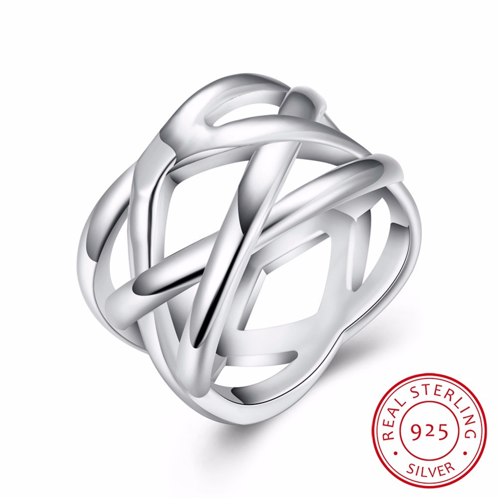 """Lekani Trendy Bijoux Women 925 Sterling Silver Ring Jewelry For Double""""x"""" Cross Statement Ring Bague Anillos Silver Fine Jewelry"""