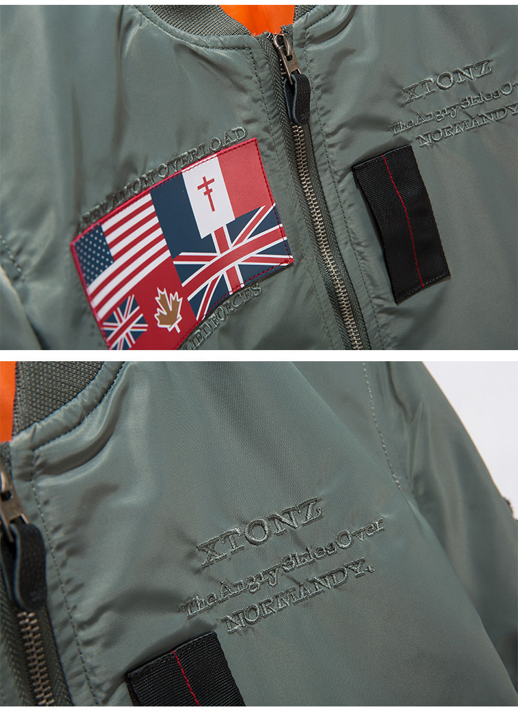 Topdudes.com - Men's Street Fashion Military Style Aviator Embroidery Bomber Jacket