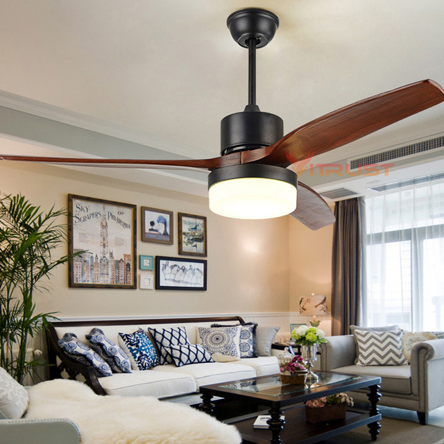 Modern Village Ceiling Fan with LED Light 52 Inch Minimalist Dining Room Fan Lamp with Remote Control