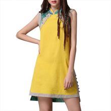 Yfashion Women Cheongsam Vintage Cotton Linen Patchwork Vest Dress 2019 Summer Girl High Quality Natural Simple