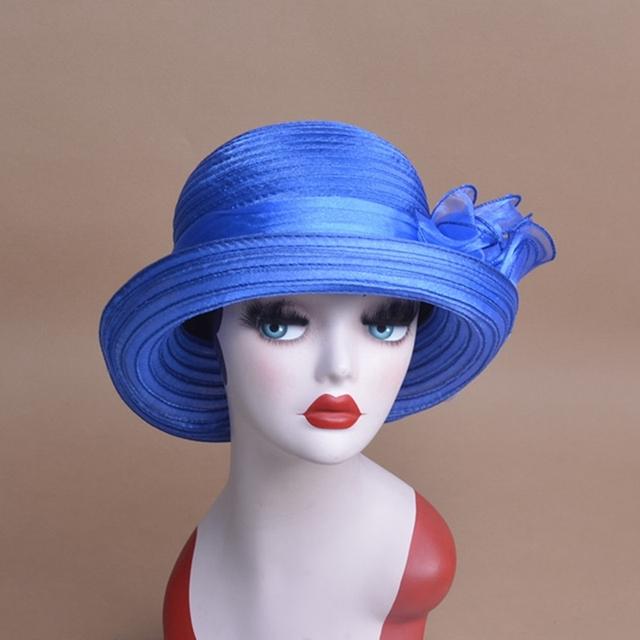 Mujer Sol Del Verano Del Sombrero de Poliéster Flor Floppy Sombreros Gorra de Sol Femenina Kentucky Derby Sombreros Plegable de Ala Ancha Sombreros para Las Mujeres 10 colores