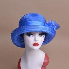 Las mujeres del verano del sombrero del sol poliéster flor Floppy sombreros  Sun Cap femenino Kentucky Derby sombreros plegables . fd8160fb30f