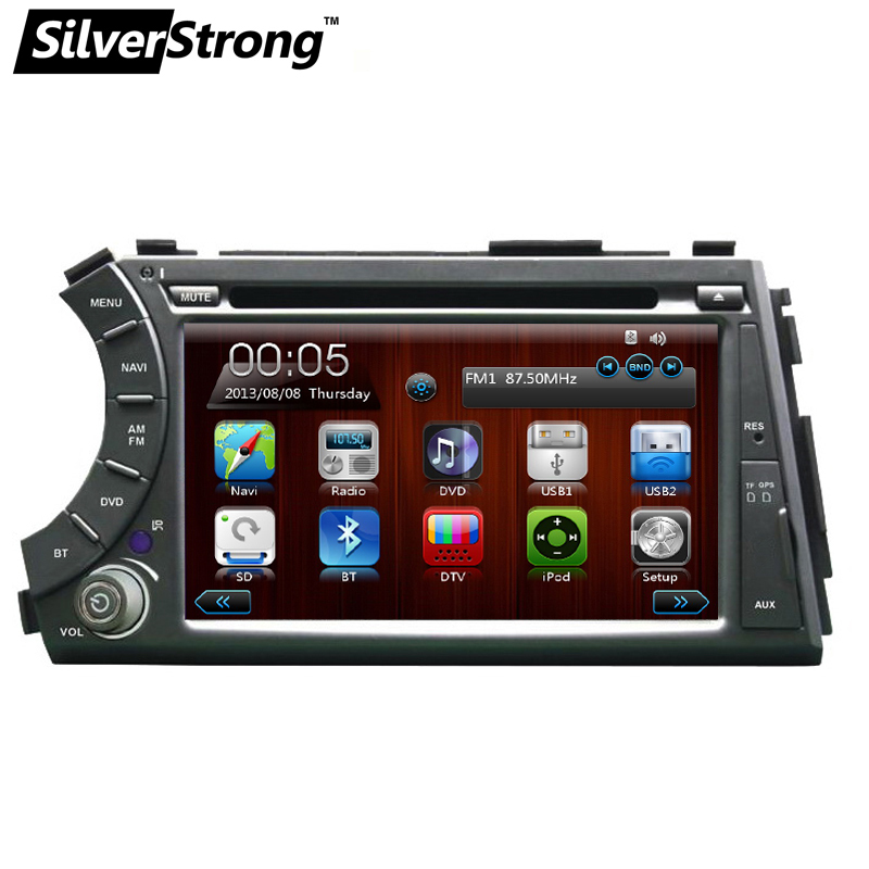 купить SilverStrong 2 din Car DVD for ssangyong Actyon Kyron with car gps radio for ssangyong actyon kryon Free Gift 8G Map Card SWC недорого