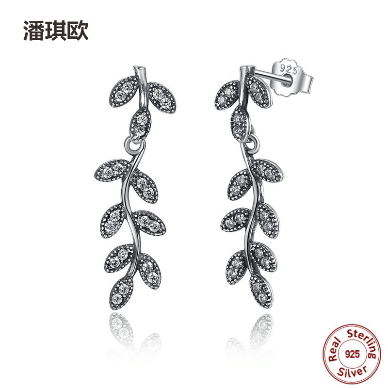 Authentic 925 Sterling Silver Shine Leaves & Branches Stud Earrings Clear CZ Women for Women Compatible with pan jewelery
