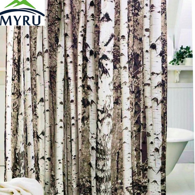 MYRU New Creative Birch Tree Shower Curtain Forest Trees For Bathroom Decor Private Protective Unique