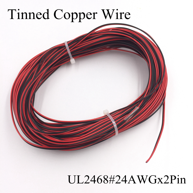 (1 Meter/lot) UL2468 24AWGx2pin Tinned Copper Red Black Wire PVC Insulated Electric Extension Cable LED Strip Tape String