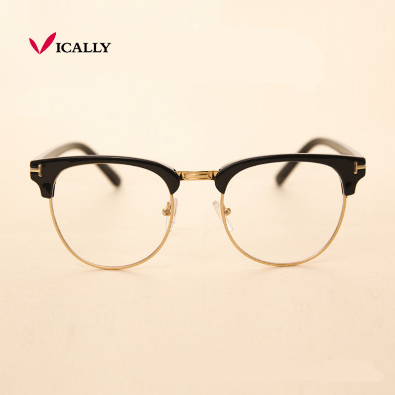 Fém fél keret szemüveg keret Retro divat nő férfi olvasó üveg UV védelem tiszta lencse szemüveg számítógép szem szemüveg