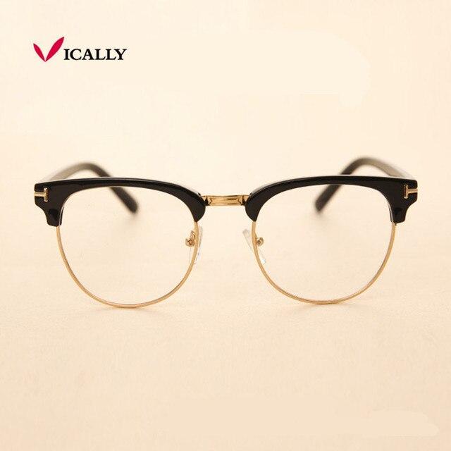 433e689bcd81 Metal Half Frame Glasses Frame Retro Fashion Woman Men Reading Glass UV  Protection Clear Lens Eyewear