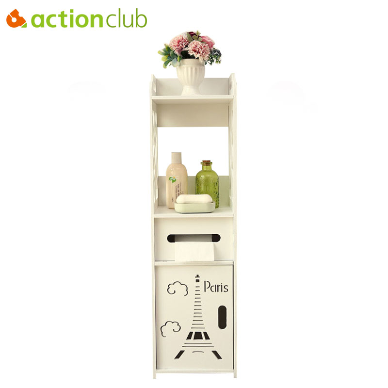Actionclub Floor Mounted Storage Cabinet Corner Bathroom Vanity Bathroom Side Cabinet Towel Box Toilet Shelf Bathroom Furniture