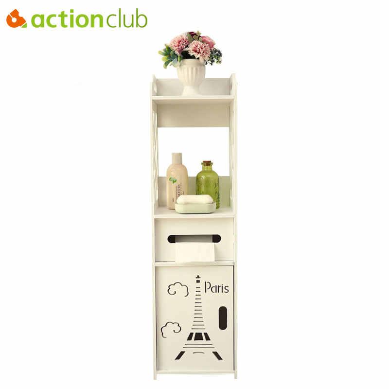 Actionclub-armoire de rangement au sol, meuble d'angle de salle de bain, meuble latéral de serviettes, étagère de toilettes, meubles de salle de bains