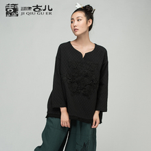 Jiqiuguer mulheres Nacionais tendência outono de 100 por cento de algodão t-shirt da longo-luva solto Com Decote Em V plus size camisa básica G153Y020(China (Mainland))