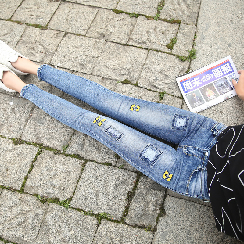 jeans female feet pants Korean Slim thin elastic pencil pants hole jeans woman jeans for women ripped jeans for women