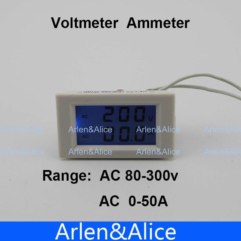 Dual LCD display Voltage and current meter blue backlight panel voltmeter ammeter range AC 80-300V 0-50.0A D85