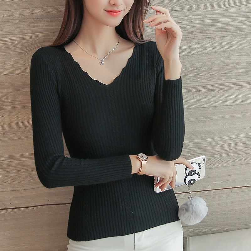 Black white Autumn Winter Sweater Women solid Knitted Sweater Pullovers long sleeve tops Wave Cut V-neck Basic office 2019