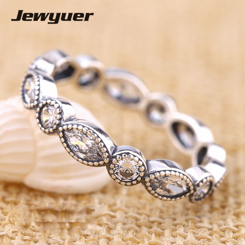 Silver Round and Oval Eternity rings for women 925 sterling silver fine Jewelry Engagement wedding Ring anillos RIP033