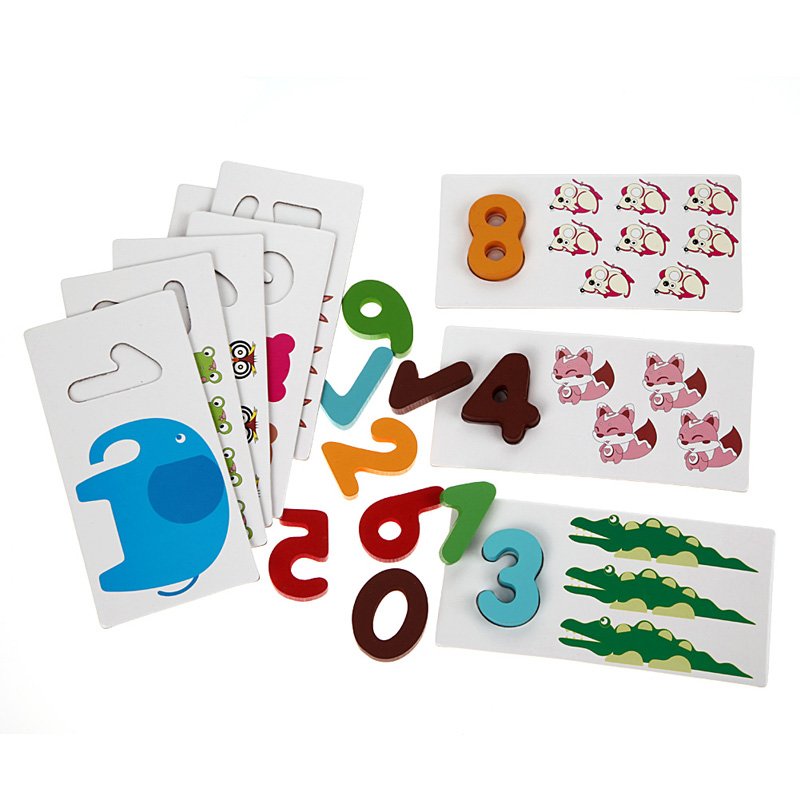 Wooden Letters Numbers Matching Puzzle Cards Board Jigsaw Kids Digit Counting Math Learning Cartoon Shape Puzzle Toy intellectual shape match puzzle column toy for kids