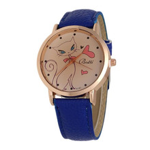 Sizzling Supper enjoyable relogio feminino Trend Cat Sample Leather-based Band Analog Quartz Watches march7