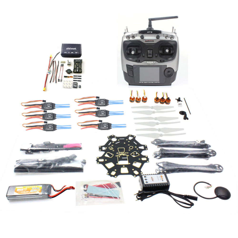 JMT Hexacopter 6-axle Aircraft Kit HMF S550 Frame PXI PX4 Flight Control 920KV Motor GPS AT9 Transmitter 9443 Props