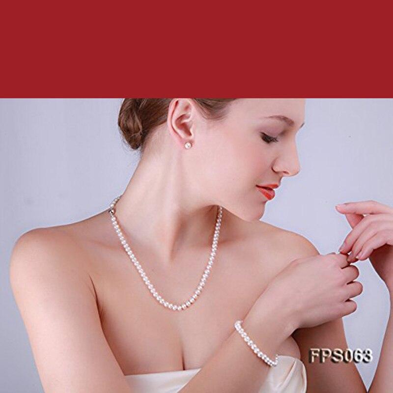 Femmes ensemble de bijoux blanc perle de culture d'eau douce collier Bracelet boucles d'oreilles colliers ensemble de noël cadeau amoureux