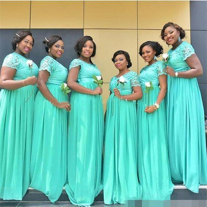 2018 South African Mint Green Long Bridesmaid Dresses Dubai Sheer Crew Neck Short Sleeves Plus Size Maid Of Honor In From