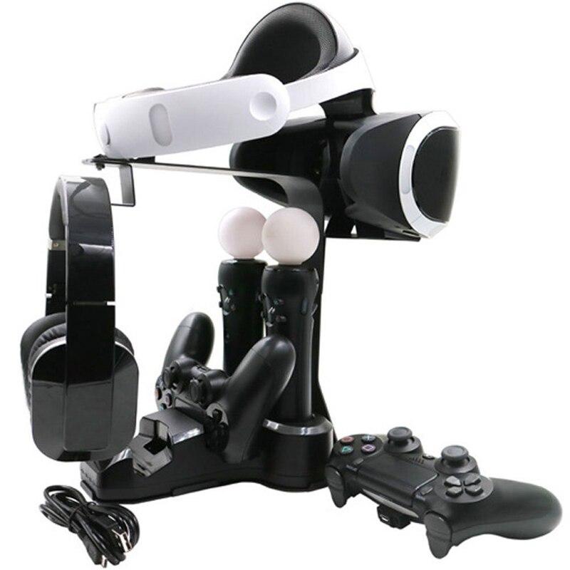Support Vertical de vitrine 5 en 1, contrôleur PS4 chargeur PS MOVE et support de présentoir pour casque PS4 VR PS4 Pro Slim PSVR