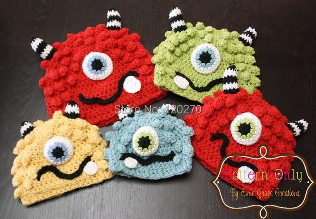 Free Shipping Crochet Knitted Monster Hat Newborn Infant Toddler
