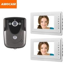 Video Door Phone doorbell Intercom system 7 inch LCD Monitor Waterproof IR Night Vision Camera wired video doorphone 2-monitor