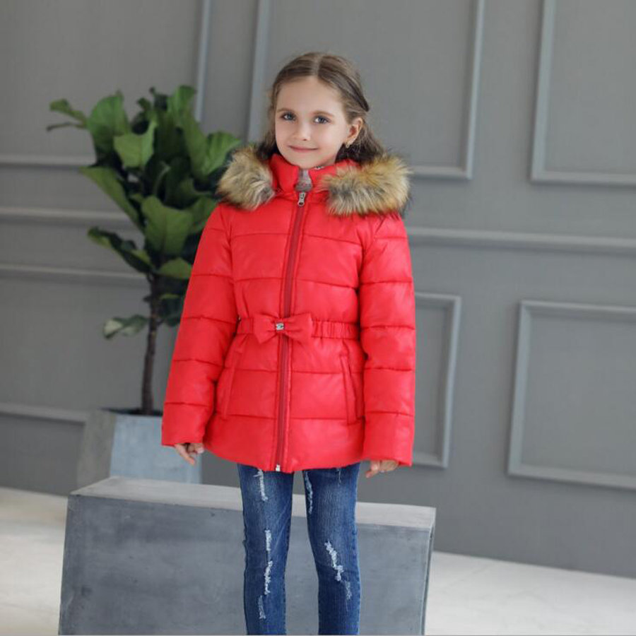 Fashion Children Winter Jacket Girl Winter Coat With HoodChildren Warm Thickened Fur Collar Girl Zipper Padded Clothes 2017 winter new clothes to overcome the coat of women in the long reed rabbit hair fur fur coat fox raccoon fur collar