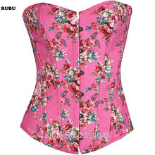 2163e4234bb Pink Green Floral Pattern Denim Zipper Corset Top Burlesque Cowgirl Sexy  Corsets And Bustiers Gothic Corpete