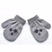 Теплые перчатки для мальчиков и девочек на зиму и осень, теплые перчатки со звездами, 6 стилей