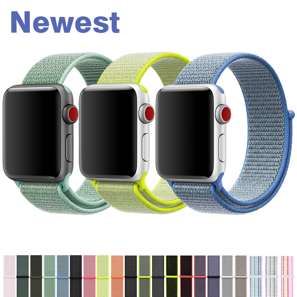 YOLOVIE For Apple Watch Band 38mm 40mm 42mm 44mm Sport Loop Nylon Woven Strap Bracelet Belt Wrist bands for iWatch Series 4 3 21 yolovie sport strap for apple watch band 38mm 40mm 42mm 44mm silicone bracelet belt replacement wrist bands for iwatch 4 3 2 1