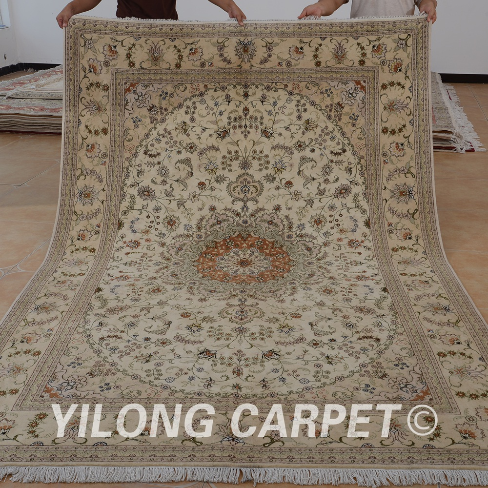 Yilong 6x9 persian wool carpet hand made exquisite chinese wool silk rug on sale (1445)