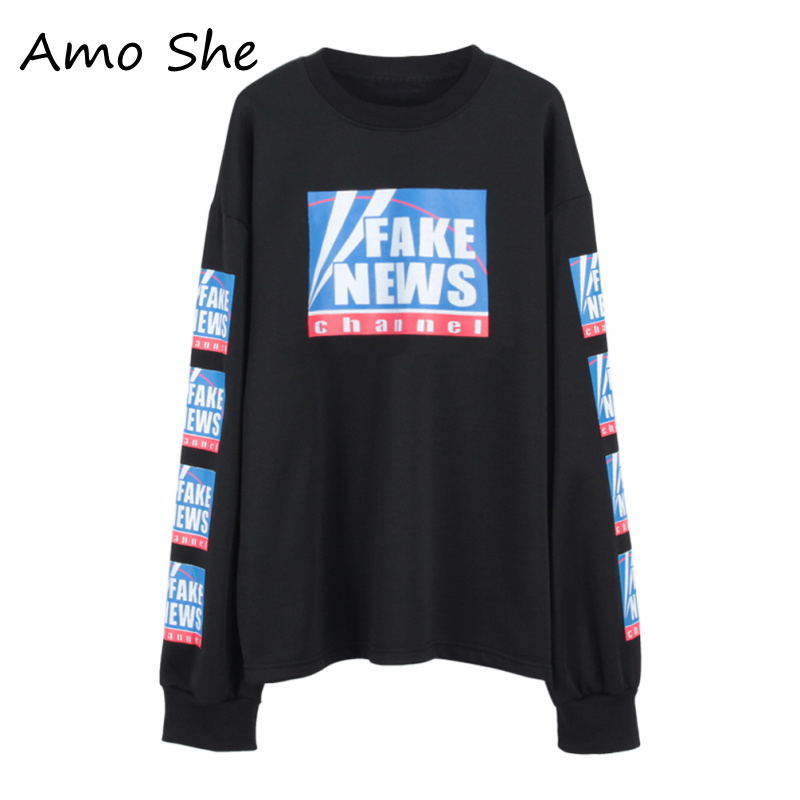 Amo She Contrast Color Letter Print Hoodies Long Sleeve O Neck Streetwear Sweatshirts Women Spring Autumn Tops Pullovers