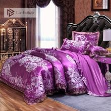 Liv-Esthete Luxury Purple Satin Jacquard European Bedding Set Lace Side Duvet Cover Flat Sheet Queen King Bed Linen For Adult