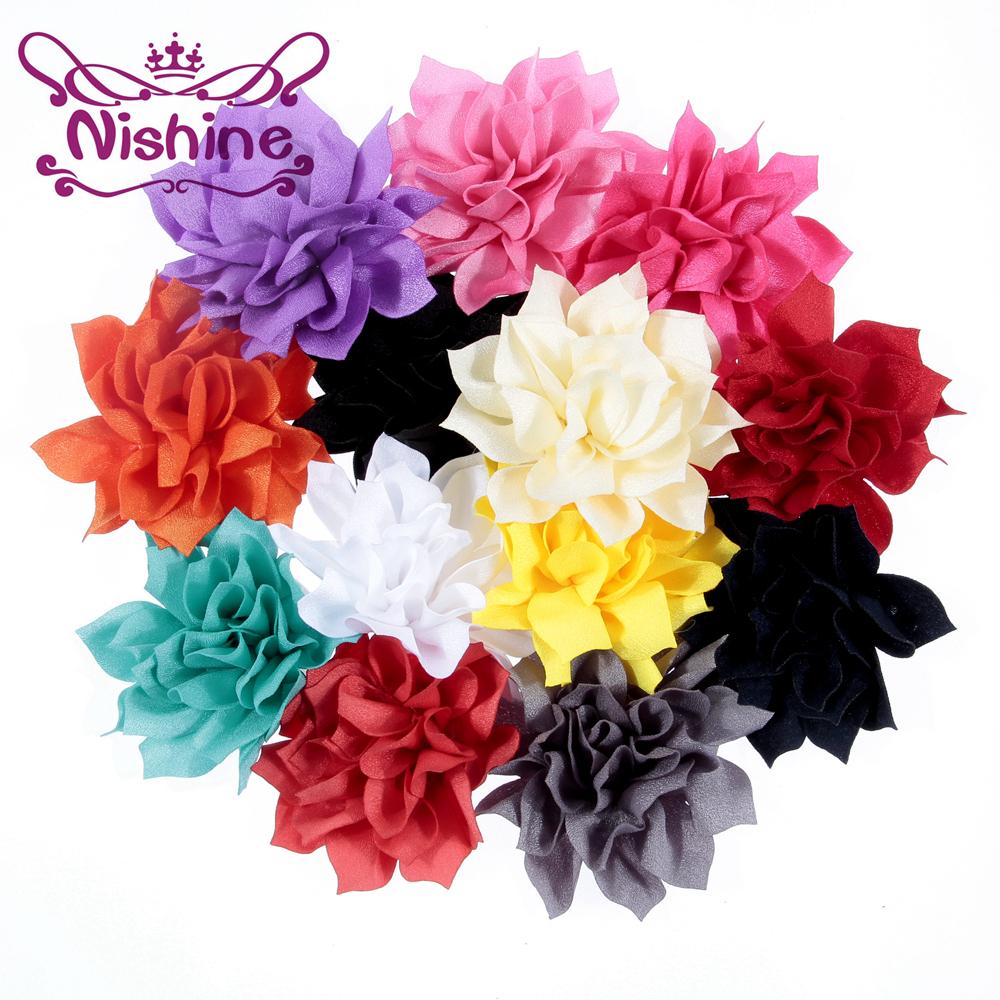 Nishine 30pcs 3 2 Hot Handmade Fabric Lotus Flower Hair